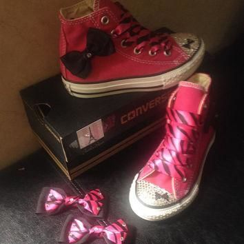Girls high top crystal converse made with swarovski converse f3d4e88be5