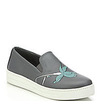 Prada - Leather Flower-Print Skate Shoes  - Saks Fifth Avenue Mobile