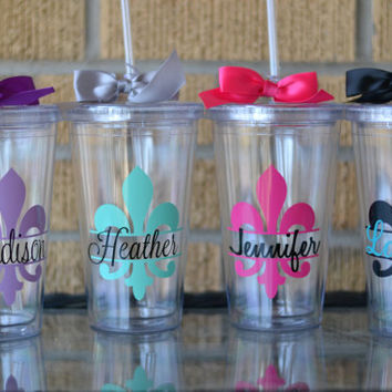 7 - Personalized Bridesmaid Gifts  - Fleur-de-lis - Your choice of colors and personalization - Set of 7