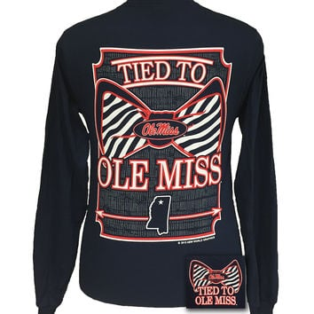 Mississippi Ole Miss Rebels Tied To Prep Bow Long Sleeve T Shirt