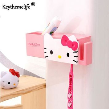 Keythemelife 1 Set Cartoon Sucker Toothbrush Holder Hello Kitty Storage Box Bathroom Shelves Bathing Accessories D9