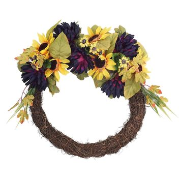 "20"" Decorative Summer Sunflower and Mum Artificial Half Flower Wreath"