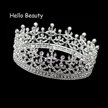 Cool Silver Color Full Circle King Queen Tiara Crystal Round Imperial Medieval Crown Wedding Bridal Hair Jewelry Bride AccessoriesAT_93_12