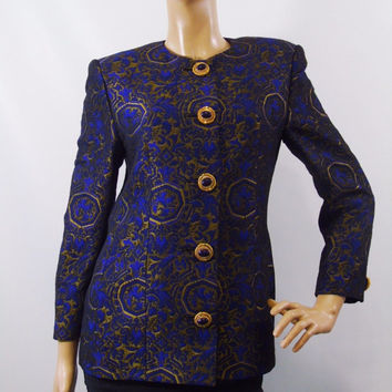 Genny Vintage Italian Designer Fashion Label  Royal Blue Bronzed Gold Brocade Haute Couture Jacket