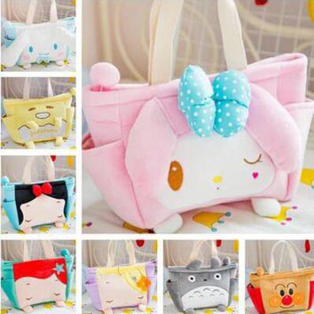 Cute 30cm Kawaii Cartoon Hello Kitty Beauty Cinnamoroll Snow Princess Mermaid Baby kids Plush Backpack Children's Shoulder Bag