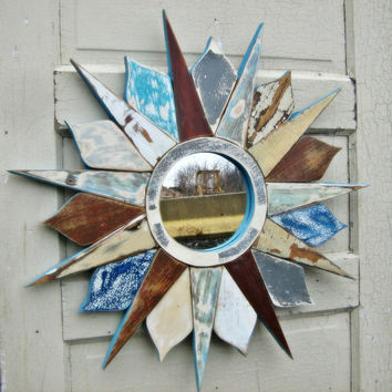 Sunburst Mirror Reclaimed Wood Art Circular Mirror