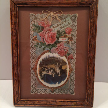 Framed Antique 1909 Teacher Greeting Card