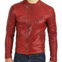 Red moto style jacket with stitching pattern