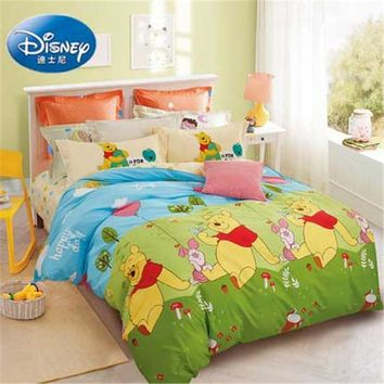 Disney 100% cotton Winnie student's dormitory bedding  Boy's and girl's bed lines set duvet cover bed sheet pillow case