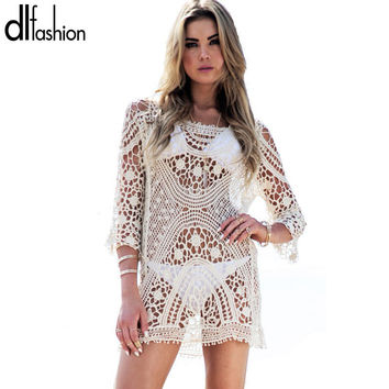 Lace summer dress beach wear slim hollow out women pareos swimwear