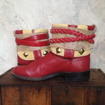 JUSTIN red upcycled western cowboy boots womens size 6
