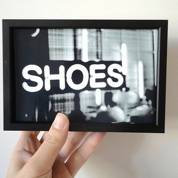 Photo Print Shoes Black and White Typography Photograph in 4 x 6