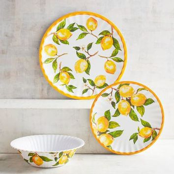 Lemon Orchard Melamine Dinnerware