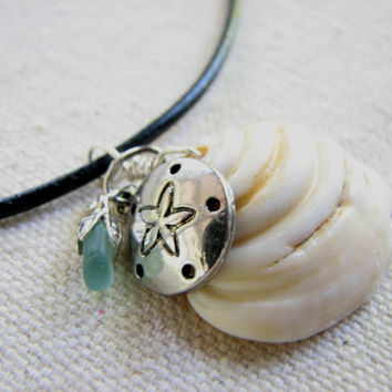 Sea Shell Necklace - Beach Charm Sea Glass Jewelry, Sand Dollar Necklace, Boho Ocean Jewelry, Nautical Pendant Beach Shell Jewelry