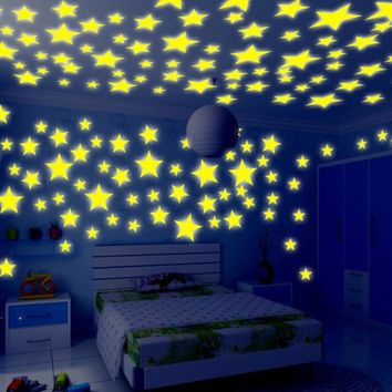 Hot Sales 100 Pieces Wall Stickers Illuminate Bedroom Decor Bright Stars of Fluorescent Color Tattoos Wall Stickers Home Decors
