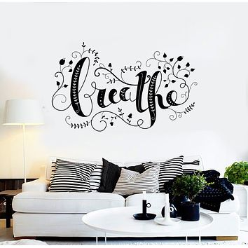 Vinyl Wall Decal Flower Floral Ornament Breathe Yoga Relax Stickers Mural (g3447)