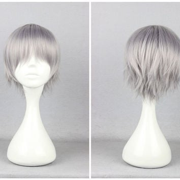 Eva Kaworu Nagisa Tabris 32cm Short Grey Man Cosplay Wig,Colorful Candy Colored synthetic Hair Extension Hair piece 1pcs WIG-263B
