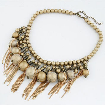 Golden Ornate Bead Tassel Temperament Short Pendant Necklace, Women's Fashion Jewelry, Party Jewelry, Birthday Gifts 11051360