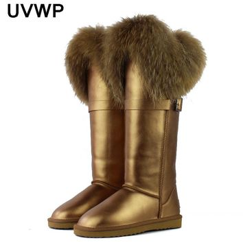 2017 New Winter Genuine Leather Snow Boots Natural Fox Fur Knee- High Boots Waterproof Flat Heel Long Women Warm Winte Fur Boots