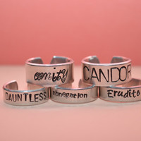 SET OF 5 Divergent Inspired Faction rings
