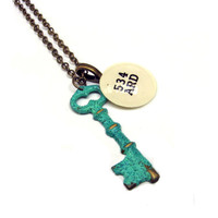 Mint Green Verdigris Skeleton Key Brass Dewey by writtennerd