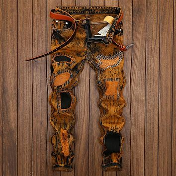 Vintage Pants Ripped Holes Strong Character Weathered Jeans [1922679570525]
