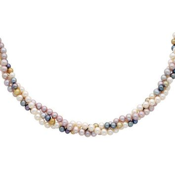 Multi Color 3 Strand Cultured Pearl Necklace 14k Yellow Gold Clasp
