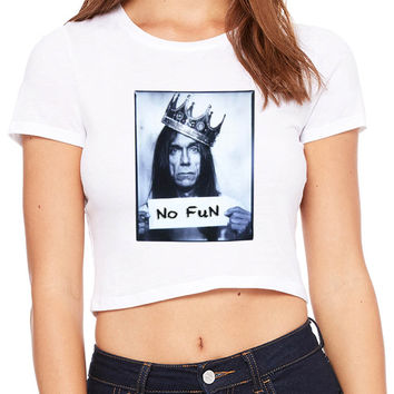 Iggy Pop No Fun Expression Crop T-shirt