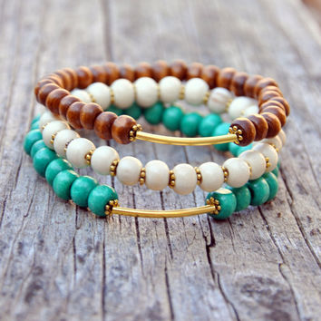 Wooden Boho Bracelet Stacking Set #1