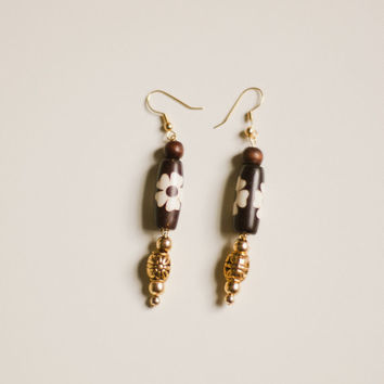 Inlayed stone + gold floral bead dangle earrings, long, tribal, brown wood, white flower, bone, etched, Asian, African, tropical island