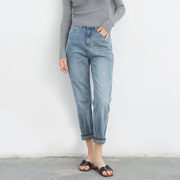 Weathered Slim Pencil Pants Korean Denim Jeans [9022916039]