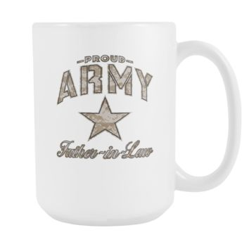 Army Father-in-Law Coffee Mug (Camo Design on White Cup)