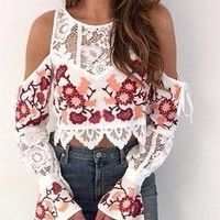 Embroidered Floral Women Blouse Crochet Lace Patchwork Shirt Off Shoulder Flare Sleeve  See Through Sexy Crop Top