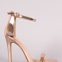 Metallic Patent Leather Strappy Single Sole Heel