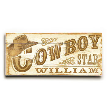 Personalized Kids Cowboy Star Wood Sign