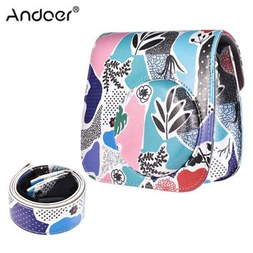 Andoer PU Protective Instant Camera Case Bag Pouch Protector with Strap for Fujifilm Instax Mini 8+/8s/8/9