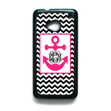 Monogram Anchor Wallpaper HTC One M7 Case
