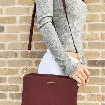 Michael Kors Jet Set Large East West Crossbody Merlot