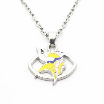 Newest USA Minnesota Vikings Football Sports Necklace Pendant Jewelry With 50cm Chains Necklace DIY Jewelry Charms 10pcs/lot