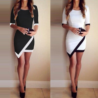 Asymmetric Patchwork Half Sleeve Bodycon Pencil Short Dress