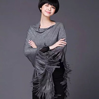 Casual Batwing Tassels Knitted Cloak