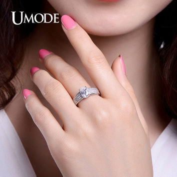 UMODE Vintage Rings CZ Crystal Romantic Wedding Band Valentines Day Gifts Engagement Ring Jewelry For Women Bague Femme UR0369B
