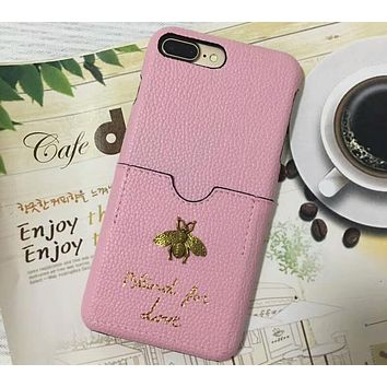 GUCCI iphone6s plus card leather hard shell mobile phone shell F-OF-SJK Pink