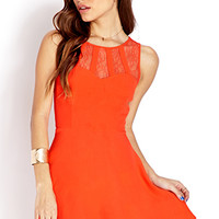 FOREVER 21 Delicate Lace-Trimmed Dress Orange Small