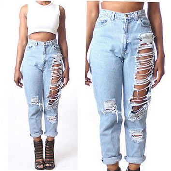 Women High Waist Destroyed Boyfriend BF Jeans Ripped Denim Hole Pants