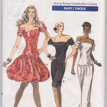 Vintage 1980s pattern for fitted, off the shoulder party dress with drop waist, knee or floor length misses size 12 14 16 Vogue 7081 UNCUT
