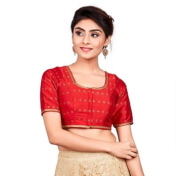 Designer Indian Red Dupion Silk Padded Front Open Hooks Elbow Sleeves Saree Blouse (Co-722)