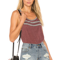 Chaser Blocked Jersey Racer Back Tank in Old Zin & Streaky Grey | REVOLVE