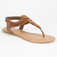 City Classified Womens Beaded T-Strap Sandals Tan  In Sizes