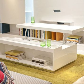Contemporary White Coffee Table With Storage